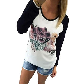 Chic Scoop Collar Long Sleeve Printed Color Block T-Shirt for Women