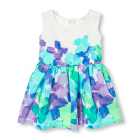 Toddler Girls Sleeveless Watercolor Floral Print Flare Dress | The Children's Place