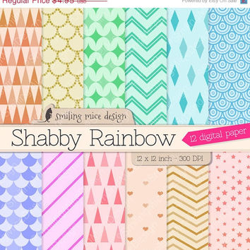80% OFF SALE SHABBY Rainbow digital paper / digital scrapbook paper