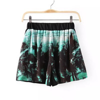 Women's Fashion Sea Beach Print Shorts [6047764609]