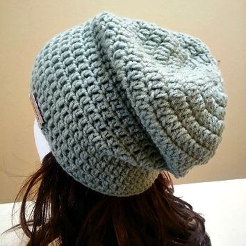 Light Green Sage Slouchy Beanie Crochet Beanie Womens Beanie Slouchy Crochet Hat Baggy Beanie Womens Long Beanie Crochet Hipster Hat Toque