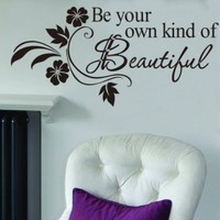 """Toprate(TM) Be Your Own Kind Of Beautiful Quote Vinyl Wall Art Decals Mural Wall Sticker Black 12.5""""x25.5"""""""