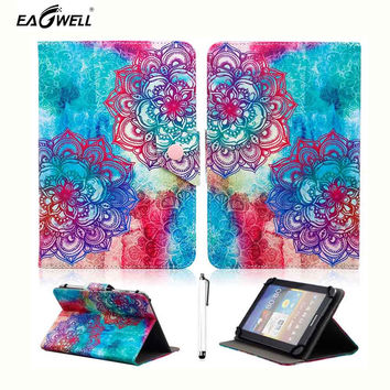 """Fashion Universal 9.7"""" 10"""" 10.1"""" inch Tablet Case Flip Stand PU Leather Cover Case Mandala Print Protective Shell Free stylus"""