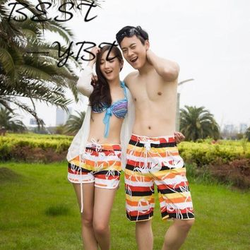 PEAPGC3 Rainbow Printing Female Couple Beach Casual Shorts Female Vacation Beach Quick-drying