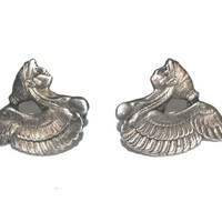 Vintage Pewter Etruscan Egyptian Lady Clip on Earrings, Antique Alchemy