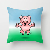 Cheerful little pig Throw Pillow by Cardvibes