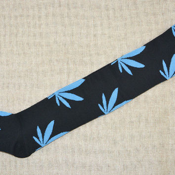 So Fun! Thigh High/Over The Knee/Black With Blue Marijuana Leaves