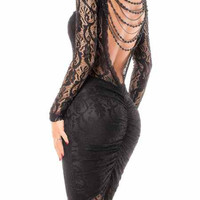 Black Sheer Lace-Paneled Backless Ruched Dress