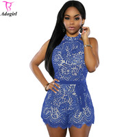 Women Lace Romper Halterneck Sleeveless Jumpsuit  Bodysuit Rompers Lady One Piece Playsuit Overalls for Night Club 2016 Summer