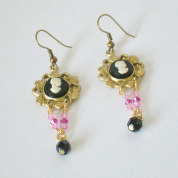 Delicate Cameo Earrings Black Gold & Pink by RetroRevivalBoutique