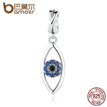 BAMOER New Arrival 925 Sterling Silver Dark Blue Evil Eye Pendant Charms Fit Charm Bracelets 925 Silver Fashion Jewelry SCC083