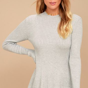 Autobiography Heather Grey Peplum Sweater Top