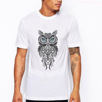 Men's short sleeve night warrior owl printed t-shirts funny tee shirts Hipster O-neck popular tops