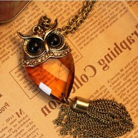 Gorgeous Glass Owl Pendant