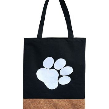 Two Material Paw Print Tote Bag Accessory 67