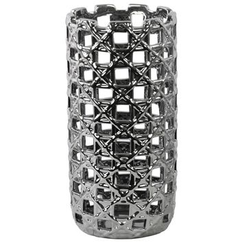 Round Cylindrical Vase with Square Cutout Design Large-Silver-Benzara