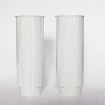 Vintage Set of Two White Porcelain Cylinder Vases - Rosenthal Tapio Wirkkala Design - 70s 80s