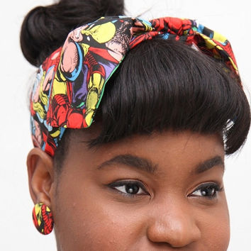 Comic Dolly Bow Headwrap & matching earrings
