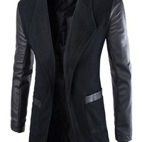 jeansian Men's Fashion Long Trench Coat Jacket Outwear Tops 9350
