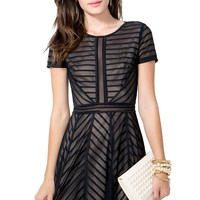 Sheer Stripe Flare Dress