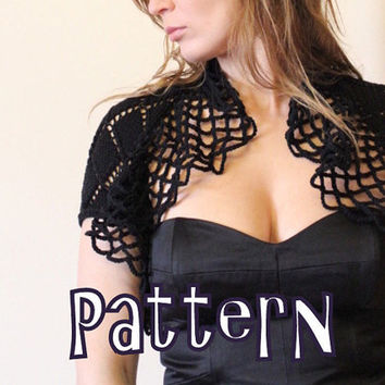 Pdf knitting pattern - Black Magic Lace Shrug - Listing21