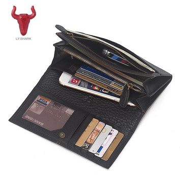 LY.SHARK Men wallet Genuine Leather women Wallet male Coin Purse Long Wallet men Phone Card Holder Clutch designer money Bag