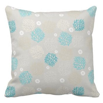 Coral Reef and sand dollar beach theme Throw Pillow