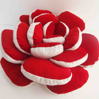 Red pillow rose petal pouf velvet pillow  wedding pillow white valentine decor christmas pillow