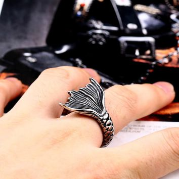 steel solider drop shipping mermaid tail punk fashion tianium steel women men ring personality jewelry
