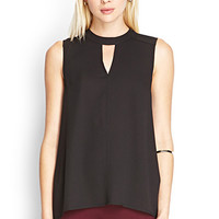 FOREVER 21 Vented Neckline Chiffon Top