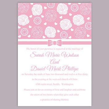 DIY Wedding Invitation Template Editable Word File Instant Download Printable Pink Wedding Invitation Floral Rose Wedding Invitation