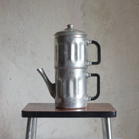 French Coffee Maker // 1950 Coffee Pot in Metallic Silver Tin