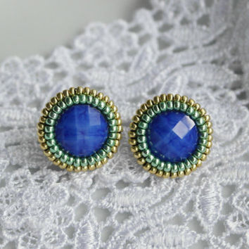 Stud Earrings Blue Green Gold Cabochon Flatback Stud Earrings Small Cute Birthday For her Teens Sympathy
