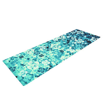 "Ebi Emporium ""Flower Power in Blue"" Teal Aqua Yoga Mat"
