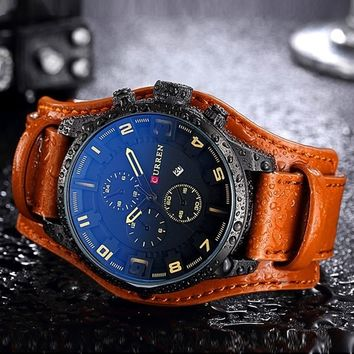 CURREN 8225 Luxury Brand Army Military Watches Men Clock Leather Strap Waterproof Analog Quartz Watches