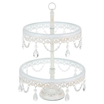 2-Tier Vintage Glass Top Crystal Dessert Cupcake Stand (Whitewashed)