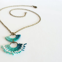 Boho Chic Macrame Aqua Green Turquoise Necklace Women Accessories