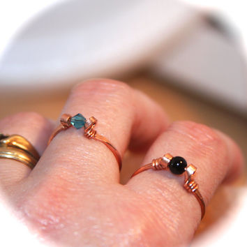Black Onyx Ring, Pick Copper or Solid Sterling Silver Ring, Handmade Ring, Wire Wrapped Gemstone Ring, StackingRing, Toe Ring, Midi Ring