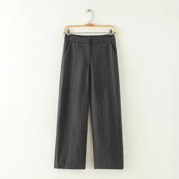 Wide Leg Striped Slacks