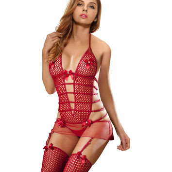 Transparent Sexy Lingerie for Adults 3 Colors Sleepwear Fishnet Halter Strap Sleepwear Women's Best Honeymoon Gift One Size 2636