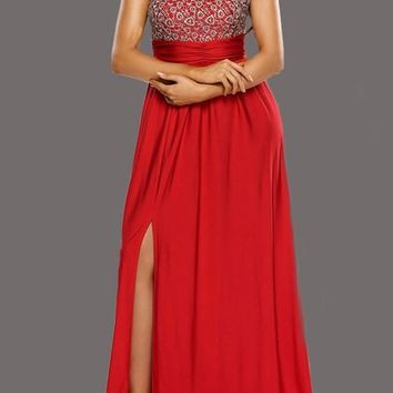 New Red Patchwork Lace Slit Side Backless Round Neck Bridesmaids Banquet Prom Maxi Dress