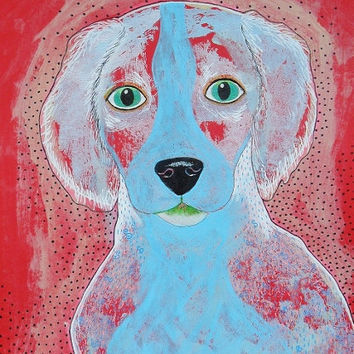 Dog Print - Blue Dog Art - Quirky Dog - Dog Painting - ArtBeatriceM - Colorful Dog - Paintings Of Dogs - Nursery Doggy Art - Cute Dog Print