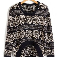 Oversized Knit Tops with Ethnic  Floral Print and Dip Hem