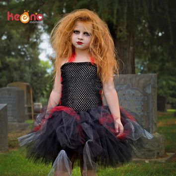 Keenomommy Girls Zombie Tutu Dress Black Red Halloween Costume S 1398e55881b9