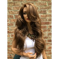 Balayage Brown Thick Hair Swiss Lace Front Wig 24"