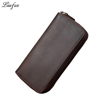 Men's Crazy horse leather clutch wallet zip around genuine leather Double zipper long wallet Phone pocket Real leather Purse