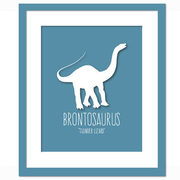 Brontosaurus Dinosaur Art Print Poster - Nursery Bedroom - Dinosaur Birthday - Animal Poster for Children - Dinosaur Party - Kids Wall Art