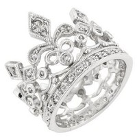 Amazon.com: White Gold Bonded Silver Crown Style CZ Eternity Ring: Jewelry