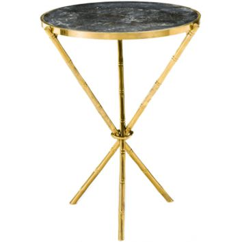 BAMBOO SIDE TABLE W/ MARBLE TOP & RING - MEDIUM
