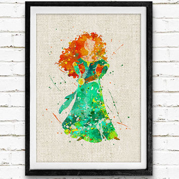 Disney Merida Watercolor Art Print, Princess Poster, Nursery Wall Art, Home Decor, Gift, Not Framed, Buy 2 Get 1 Free!